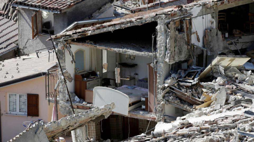 The interior of a damaged house is seen following the earthquake at Pescara del Tronto, central Italy, August 26, 2016.