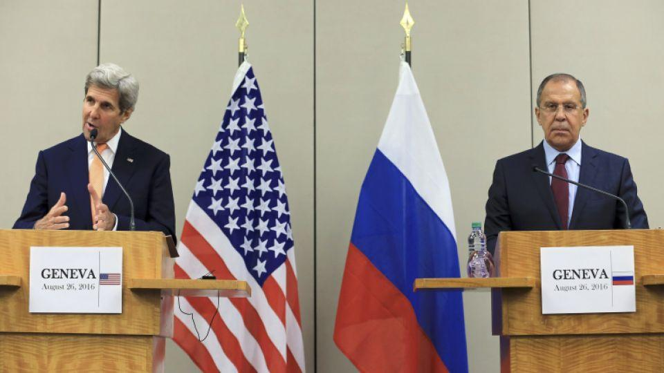 US Secretary of State John Kerry and Russian Foreign Minister Sergei Lavrov  speak to media after a meeting on Syria in Geneva, Switzerland on August 26, 2016.