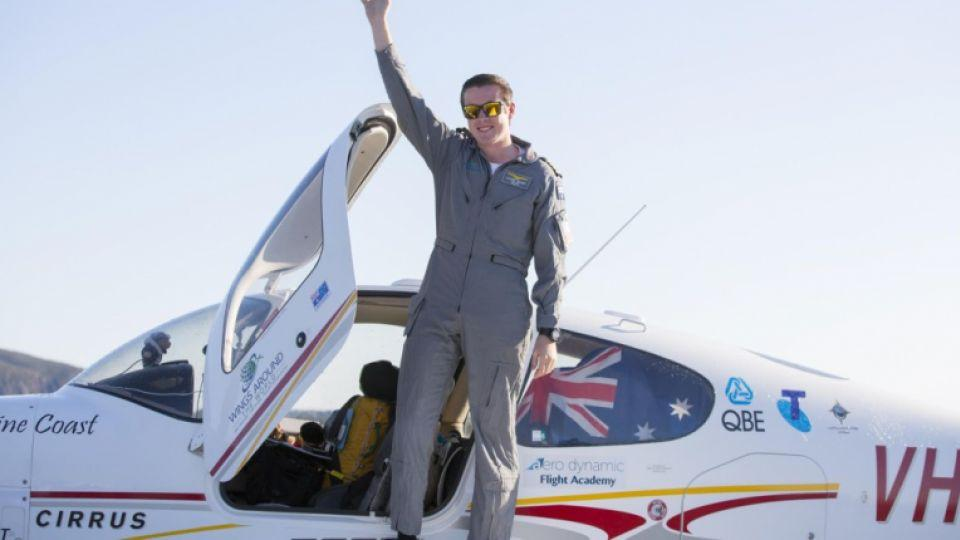 Australian teen Lachlan Smart lands in Queensland, Australia after completing his solo flight around the world on August 26, 2016.
