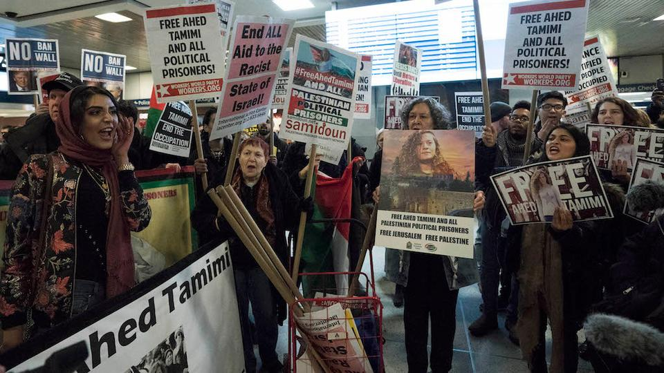 Protesters rally to demand the release of Ahed Tamimi, a 16-year-old Palestinian girl held in Israeli military detention, at Penn Station January 30, 2018 in New York.
