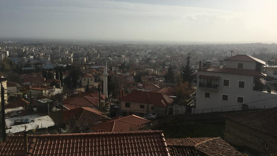 A view from the top of the hill, at the borders of the town of Xanthi. The Turkish Muslim population of Western Thrace stands at about 130,000, though the population is declining as locals emigrate to Turkey and Europe due to economic circumstances of the region, as well as pressures faced as a minority group.