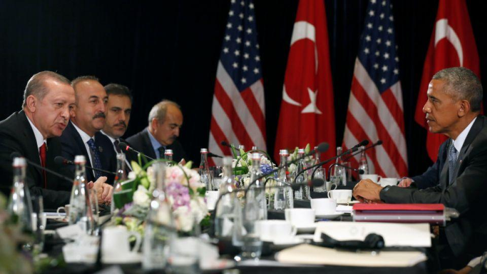 Erdogan and Obama speak to reporters after their meeting alongside the G20 Summit
