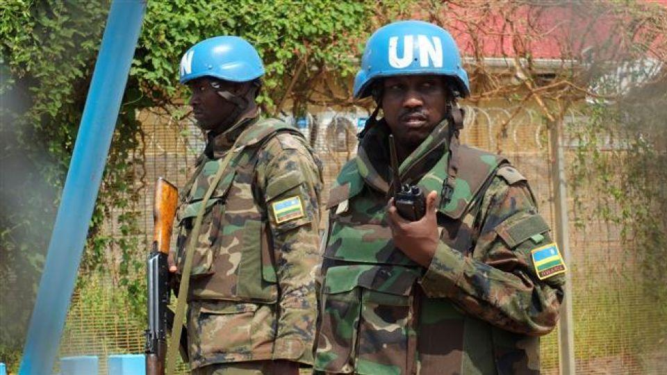 Rwandan peacekeepers serving in the United Nations Mission in South Sudan (UNMISS) stand guard inside their compound in the capital Juba, July 20, 2016.