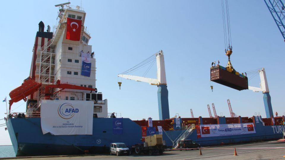 A Turkish ship is being loaded with humanitarian aid for Gaza ahead of departure for Israeli port of Ashdod.