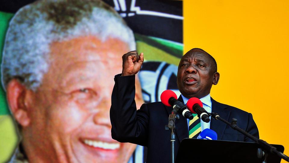 South African Deputy President and African National Congress party President Cyril Ramaphosa, delivers a speech at the Grand Parade in Cape Town, South Africa, Feb. 11, 2018, in celebration of the 28th anniversary of Nelson Mandela's release from prison.
