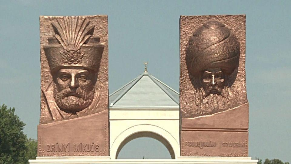Statues of Ottoman Sultan Suleiman (R) and his opponent Miklos Zrinyi, at the Hungarian-Turkish friendship park near Szigetvar.