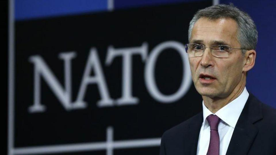 NATO Secretary General Jens Stoltenberg speaks at the Alliance's headquarters during a NATO foreign ministers meeting in Brussels.