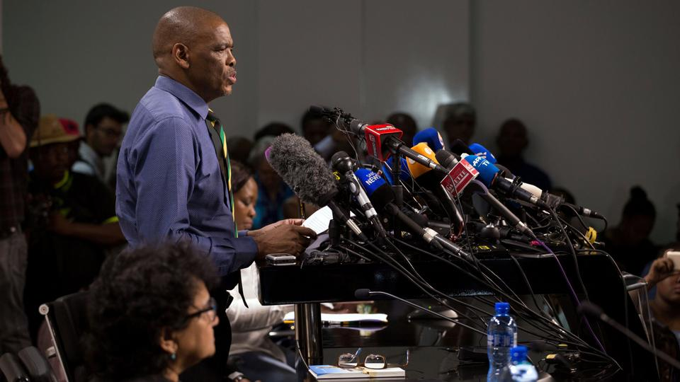 Ace Magashule, the secretary general of the ruling African National Congress faces the media, announcing that South Africa's President Jacob Zuma has been recalled.