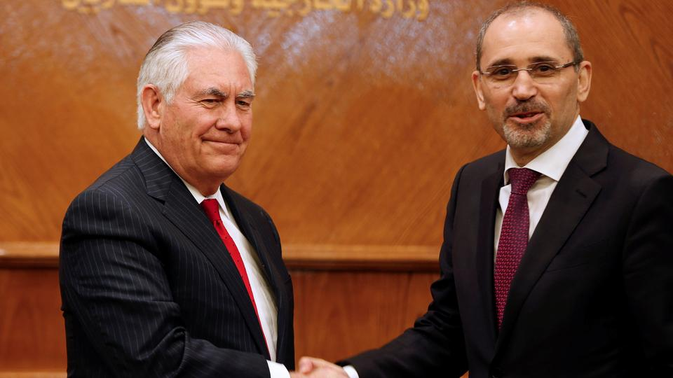 U.S. Secretary of State Rex Tillerson shakes hands with Jordanian Foreign Minister Ayman Safadi after their joint news conference conference in Amman, Jordan February 14, 2018.