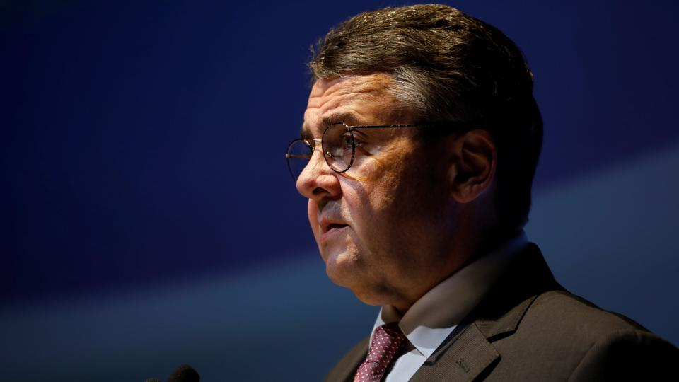 File photo shows German Foreign Minister Sigmar Gabriel speaking during the 11th Annual International Institute for National Security Studies (INSS) Conference in Tel Aviv, Israel January 31, 2018.