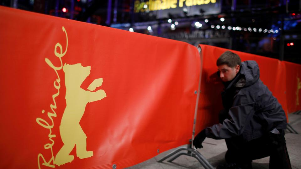 Workers prepare for the 68th Berlinale set to begin on February 15, 2017.