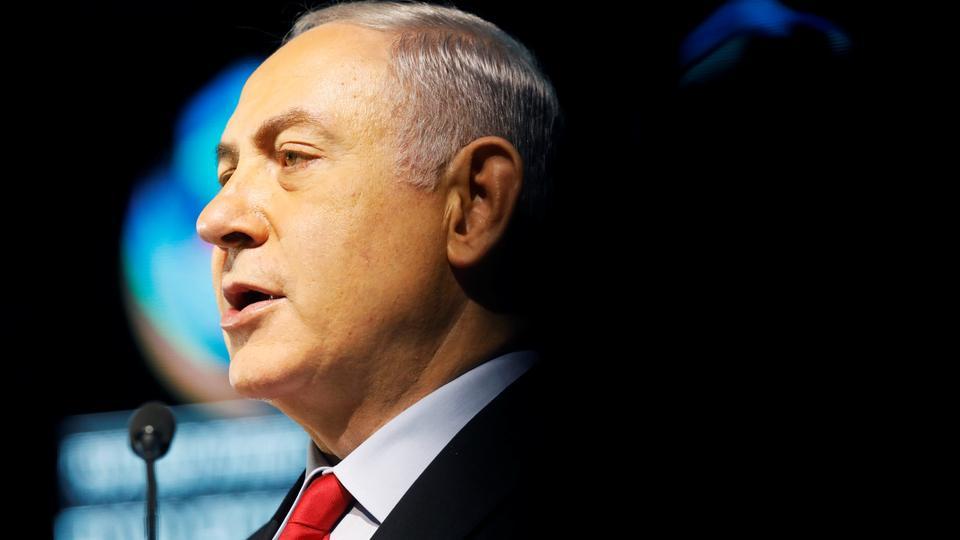 Israeli Prime Minister Benjamin Netanyahu speaks during the Muni World 2018 conference in Tel Aviv, Israel on February 14, 2018.