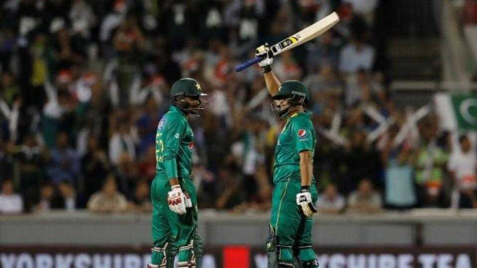 Pakistani batsman Khalid Latif celebrates in half century.