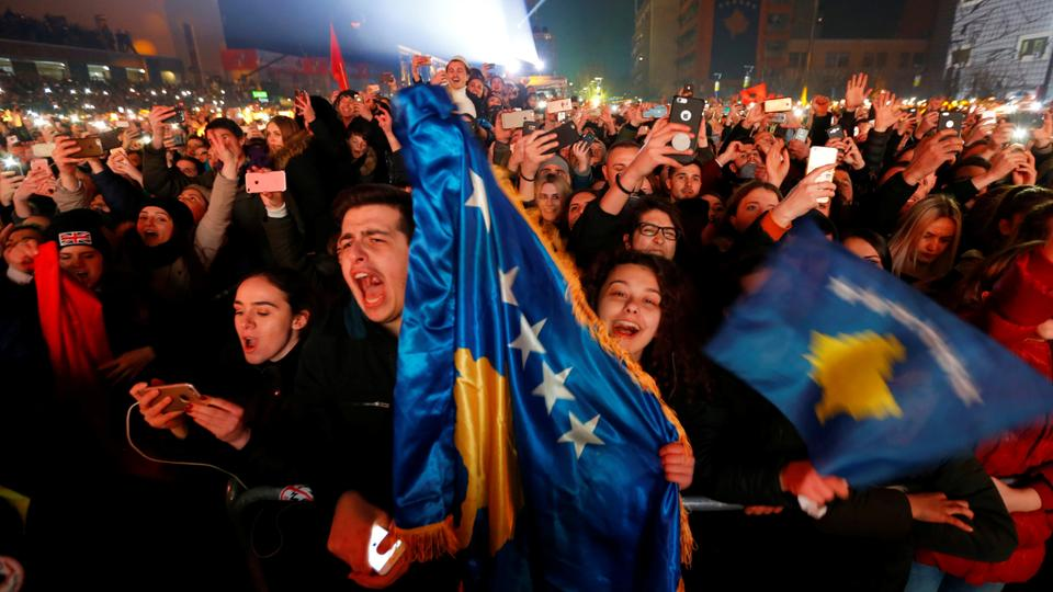 People cheer and take photos of Rita Ora's concert during celebration of the 10th anniversary of Kosovo's independence in Pristina, Kosovo on February 17, 2018.