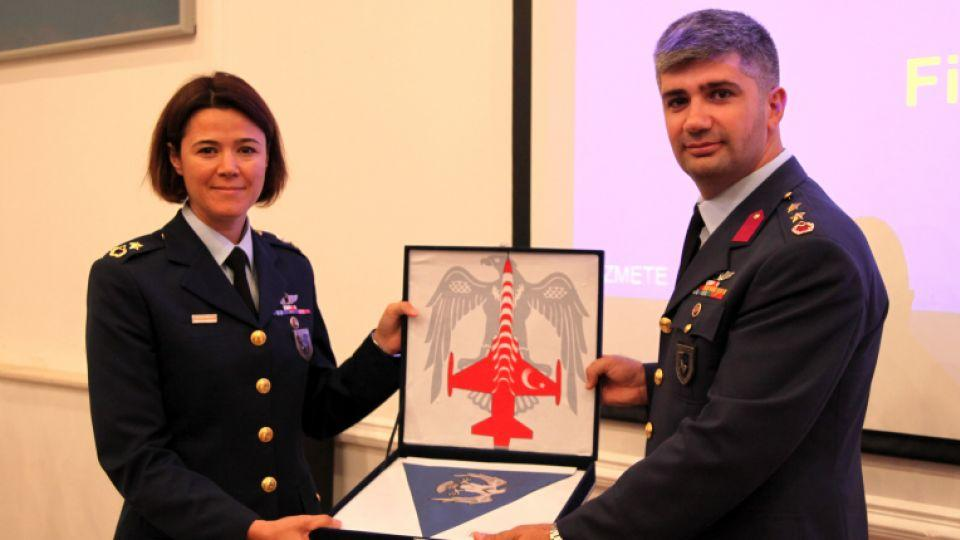Major Esra Özatay takes over command of the 134th Squadron of the Turkish Air Force from lieutenant colonel Şenol Çetin at a ceremony on Thursday.