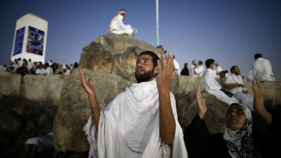 Muslim pilgrims join one of the Hajj rituals on Mount Arafat near Mecca early on September 11, 2016