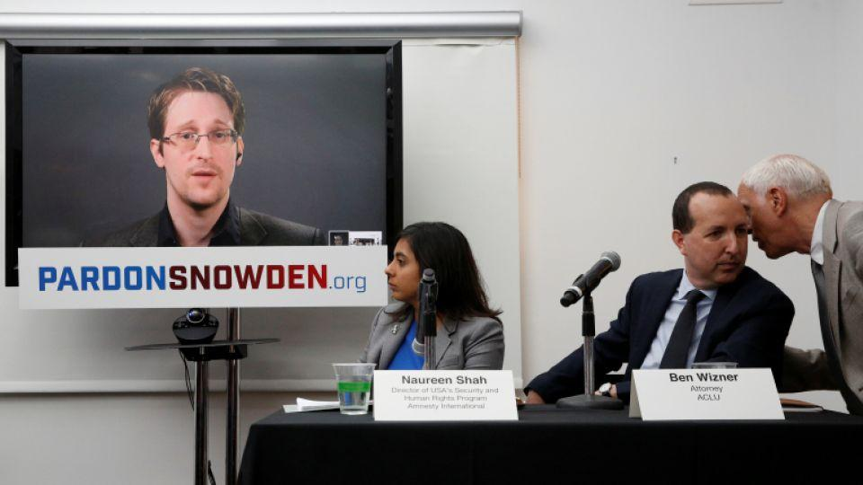 Edward Snowden speaks via video link during a news conference in New York City, U.S. September 14, 2016.