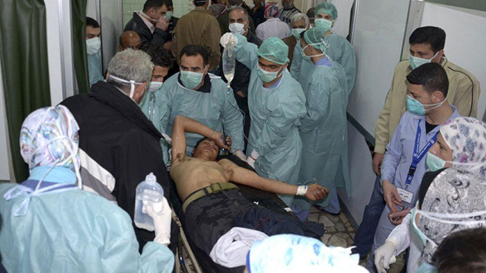 A man, wounded in a chemical weapons attack is treated at a hospital in the Syrian city of Aleppo in this file photo.