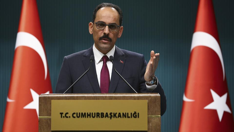 Presidential spokesman Ibrahim Kalin holds a press conference at Presidential Complex in Ankara, Turkey on March 7, 2018.