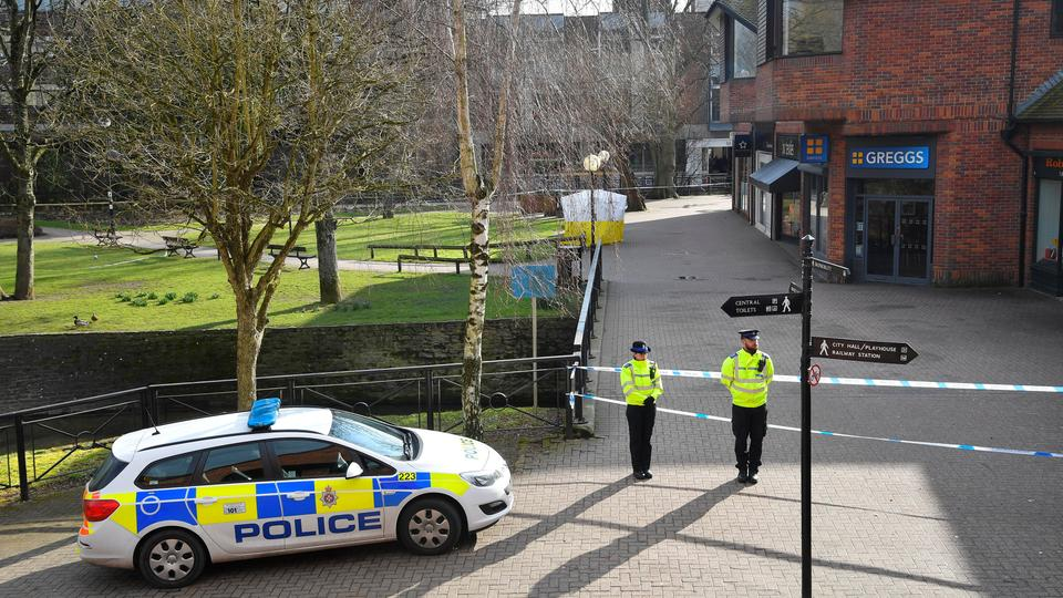 Police at the site where former Russian intelligence officer Sergei Skripal, and his daughter Yulia were found unconscious after they were allegedly poisoned, Salisbury, Britain, March 7, 2018.