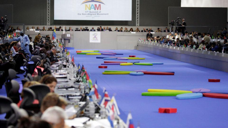 A general view shows, presidents, foreign ministers and delegation members attending the 17th Non-Aligned Summit.