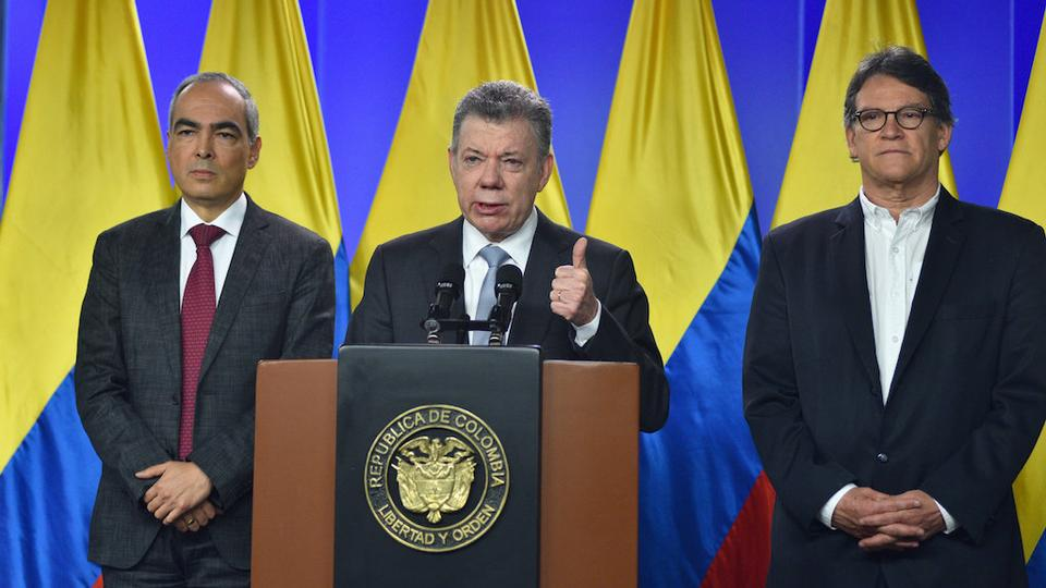 Colombia's President Juan Manuel Santos speaks during a news conference in Bogota, Colombia, March 12, 2018.