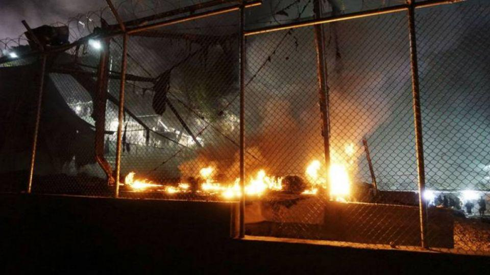 "Tents at the Moria camp were ""almost entirely destroyed"" and containers that provide additional accommodation and health and registration services were damaged."