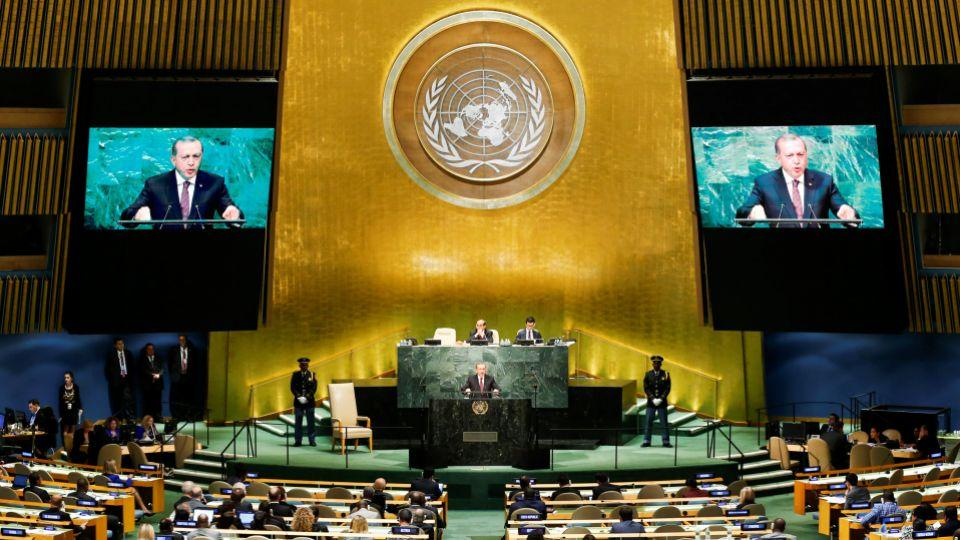 Turkish President Recep Tayyip Erdoğan addresses the United Nations General Assembly in the Manhattan borough of New York, US September 20, 2016.