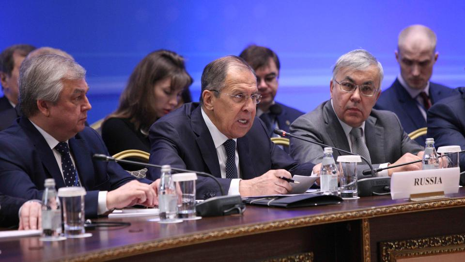 Russian Foreign Minister Sergey Lavrov (C) speaks during the international meeting on Syria in Astana, Kazakhstan March 16, 2018.