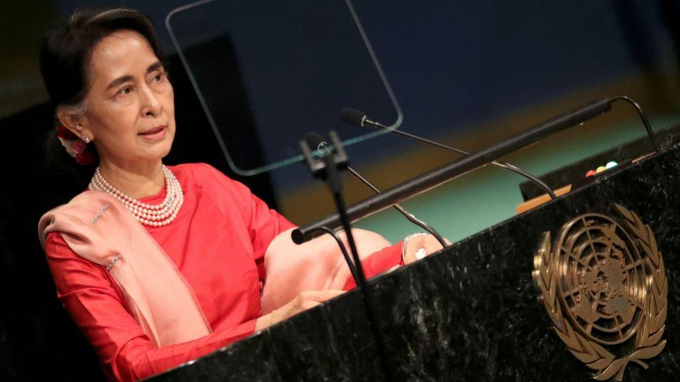 Myanmar's Minister of Foreign Affairs Aung San Suu Kyi addresses the 71st United Nations General Assembly in Manhattan, New York, US September 21, 2016.