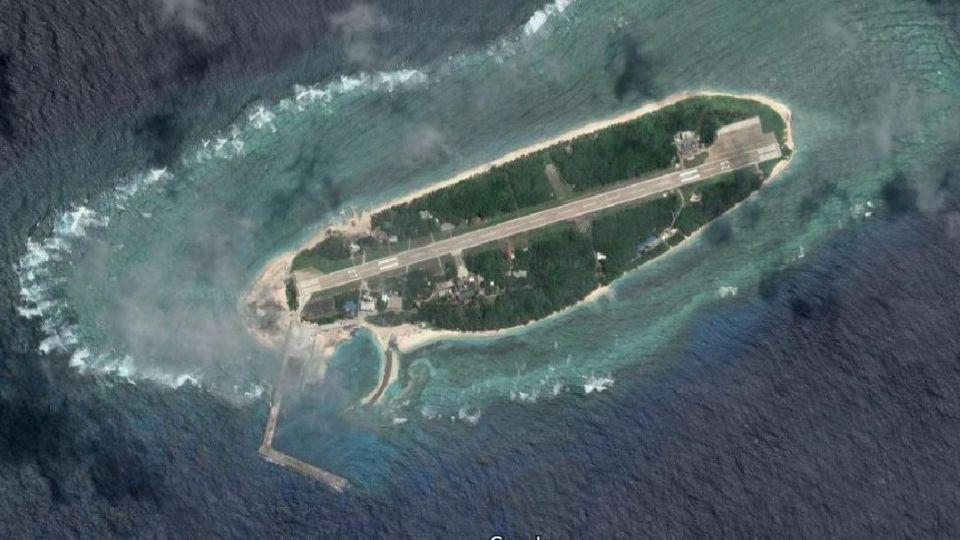 Satellite image showing Itu Aba Island in the South China Sea