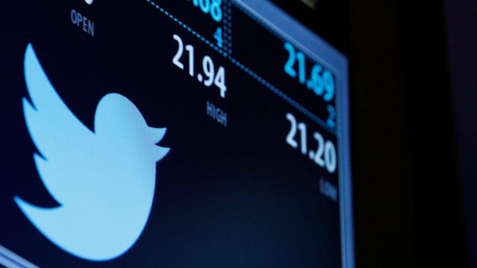 The Twitter logo and trading information is displayed just after the opening bell on a screen on the floor of the New York Stock Exchange in New York City, US, September 23, 2016.