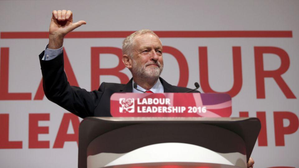 The leader of Britain's opposition Labour Party, Jeremy Corbyn, reacts after the announcement of his victory in the party's leadership election, in Liverpool, Britain, September 24, 2016.