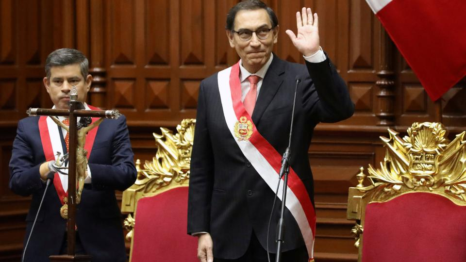 Vice President Martin Vizcarra gestures, as he is sworn in as Peru's President, at the congress building in Lima, Peru on March 23, 2018