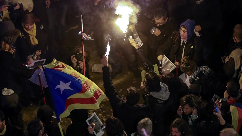 Protests in Catalonia after independence leaders detained