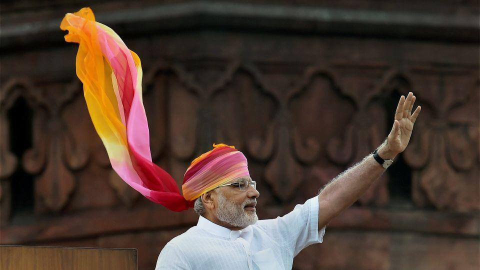 Indian Prime Minister Narendra Modi waves at the crowd after his address during the Independence Day function at the Red Fort monument in New Delhi, India, last month.