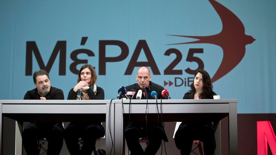 Greece's former finance minister Yanis Varoufakis, second right, presents his new left-wing pan-Europe political movement called MeRA25 or European Realist Disobedience Front, during a press conference in Athens, Monday, March 26, 2018.