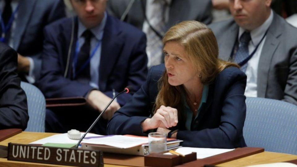 US Ambassador to the United Nations Samantha Power addresses the United Nation Security Council during a high level meeting on Syria, in New York, US, September 25, 2016.