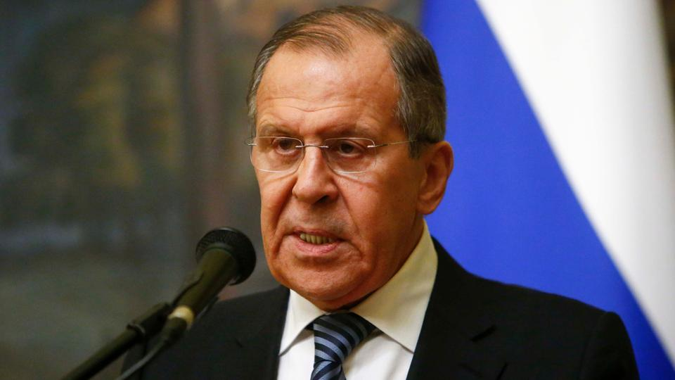 Russian Foreign Minister Sergey Lavrov attends a news conference after a meeting with UN special envoy on Syria Staffan de Mistura in Moscow, Russia on March 29, 2018.