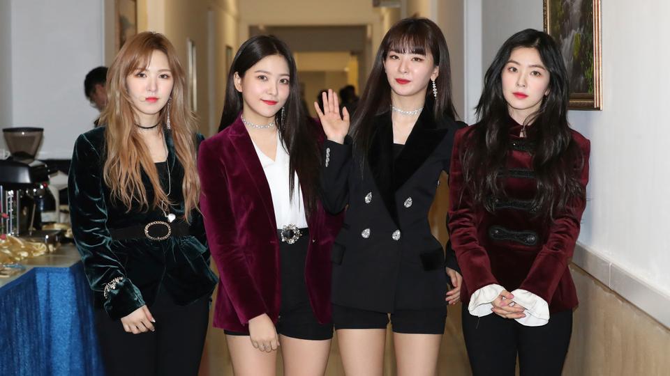 5bd726144da0 Members of K-pop girlband Red Velvet after rehearsal for their concert at  the 1