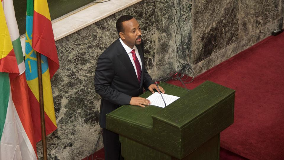 Abiy Ahmed, newly elected prime minister of Ethiopia, addresses the house of parliament in Addis Ababa, after his swearing-in ceremony on April 2, 2018.