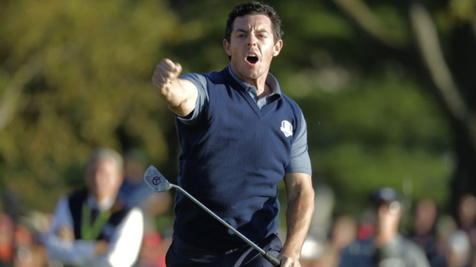 World number 3 Rory McIlroy celebrates during the 2016 Ryder Cup.