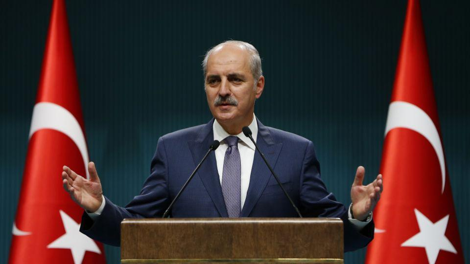 Deputy Prime Minister Numan Kurtulmus addressing a press conference following the cabinet meeting.
