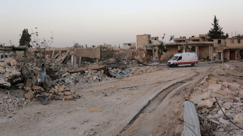A scene of devastation in al-Rai town, northern Aleppo countryside, Syria October 2, 2016.