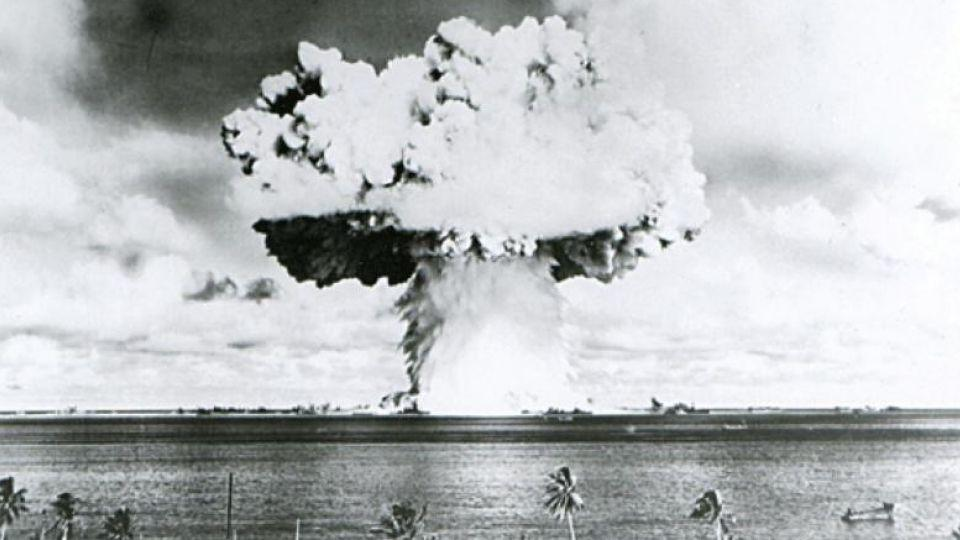 This US Navy handout image shows Baker, the second of the two atomic bomb tests, in which a 63-kiloton warhead was exploded 90 feet under water as part of Operation Crossroads, conducted at Bikini Atoll in July 1946