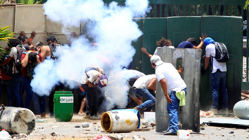 Students from the Universidad Agraria (UNA) public university protest against reforms that implement changes to the pension plans of the Nicaraguan Social Security Institute (INSS) in Managua, Nicaragua April 19, 2018.
