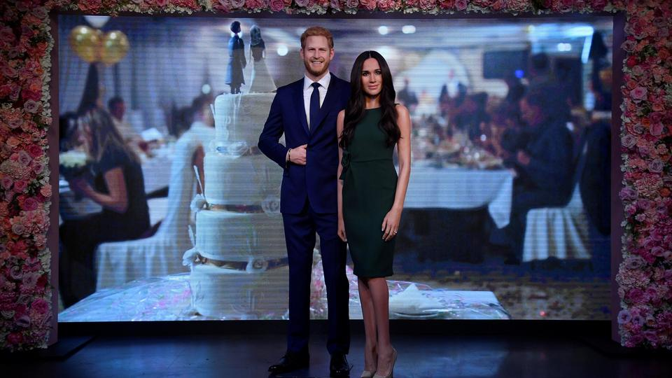 Waxwork models of Britain's Prince Harry and his fiancee Meghan Markle are seen on display at Madame Tussauds in London, Britain, May 9, 2018.