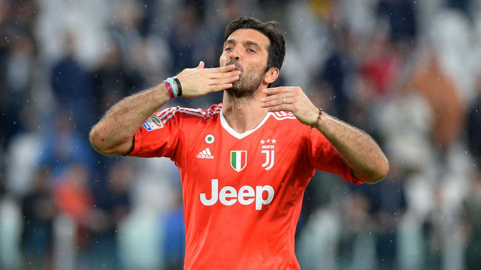 54b8b741e85 Juventus' Gianluigi Buffon gestures to the fans at the end of the match,  April