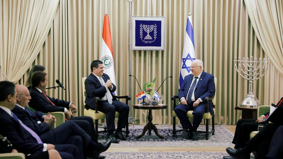 Paraguayan President Horacio Cartes sits next to Israeli President Reuven Rivlin at his residence in Jerusalem, ahead of the dedication ceremony of the embassy of Paraguay in Jerusalem, May 21, 2018.