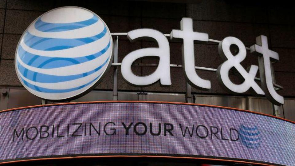 Signage outside an AT&T store in New York.